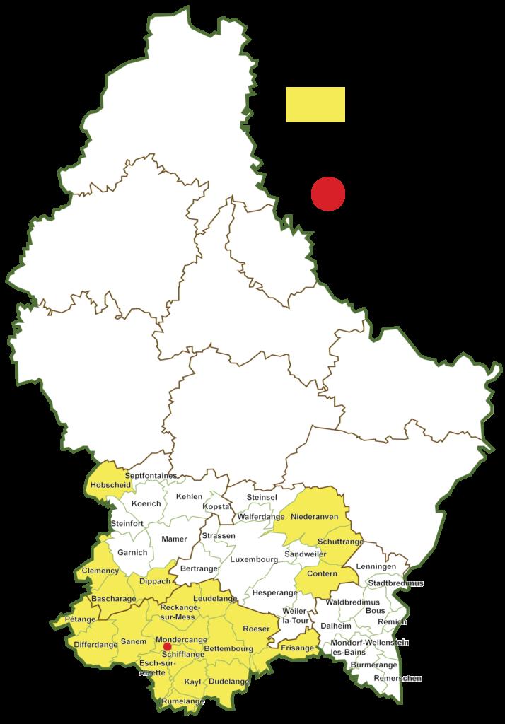 Carte des communes affiliées au syndicat Minett Kompost