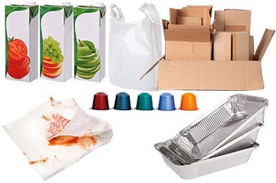Zeitschriften und Glanzpapier, Altpapier, Karton, Kunststofftüten und Kunststoff- und Aluminiumverpackungen, Kaffeekapseln.