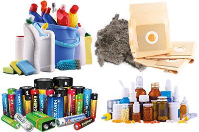 Batterien, jede Art von chemischen Substanzen, Medikamente, Hygieneartikel, Aschen, Staubsaugerbeutel, Kehricht.