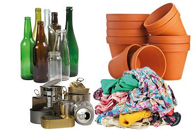 Déchets verre, métaux, textiles, céramiques, pierres